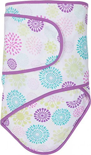 Miracle Blanket Swaddle for Baby Girls, Colorful Bursts with Purple Trim