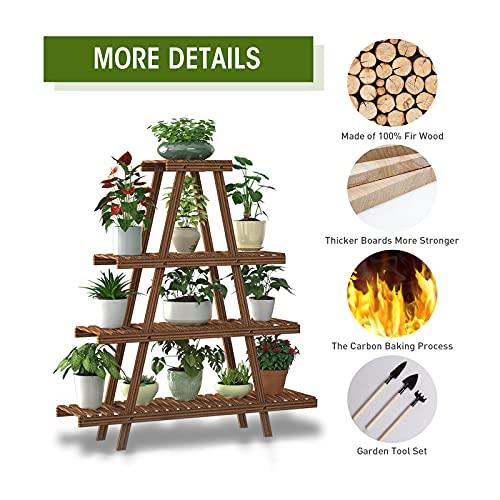 TESOURO 4 Tier Wood Plant Stand, 12 Potted Indoor Outdoor Multiple Flower Stands Holder Shelf Rack Planter Display for Patio Garden Living Room