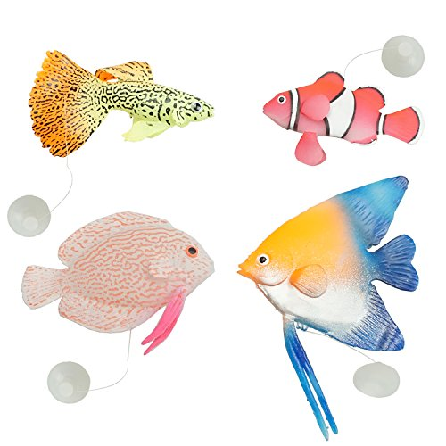 (Floating Silicone Artificial Tropical Fishes for Aquarium Fish Tank Decorations Ornament Glowing Effect 4 Counts by SHXSTORE)