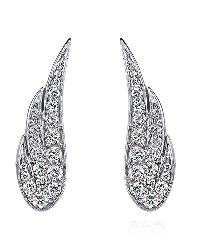 10K Solid White Gold White Cubic Zirconia Angel Wing Stud Earrings by Wishrocks