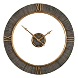Mid Century Modern Open Wood Wall Clock | Gold Floating 39'' Hanging