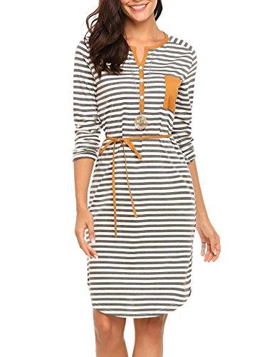 (OD'lover Women's Stripe Tunic Dress Casual Long Sleeve Belted Dress)