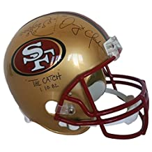 Dwight Clark Signed 49ers Full Size Replica Helmet Insc The Catch With Play - JSA Certified - Autographed NFL Helmets