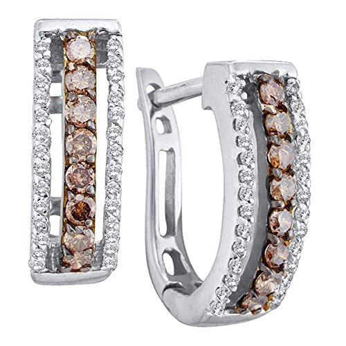 14k White Gold Channel Set Round Cut Brown Chocolate and White Diamond U Shape Earrings - 13mm Height 5mm Width (1/2 cttw)