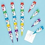 Wachsmalkreiden Schneemann zum Zusammenstecken für Kinder als kleines Weihnachtsgeschenke zum Fest (4 Stück)