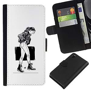 NEECELL GIFT forCITY // Billetera de cuero Caso Cubierta de protección Carcasa / Leather Wallet Case for Sony Xperia Z3 D6603 // Chica Emo Sexy