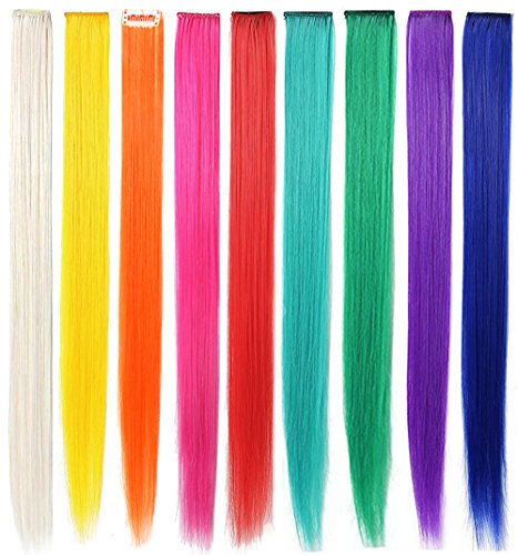 CCW 9PCS Wig Pieces For America Girls and Dolls Clip In/On Colored Hair Extensions(Rainbow Color) by Rhyme (Image #1)