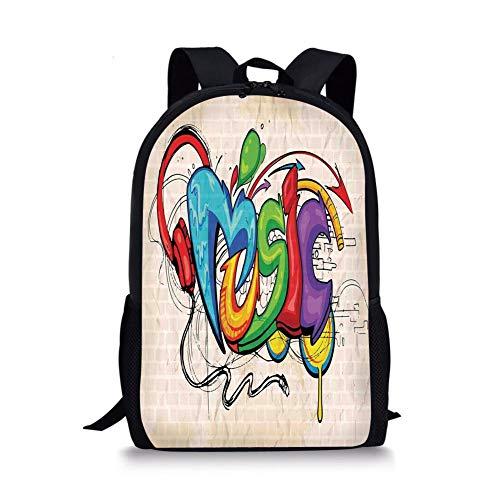 School Bags Music Decor,Illustration of Graffiti Style Music Lettering Headphones Hip Hop Rhythm Tempo Hipster Concept,Multi for Boys&Girls Mens Sport Daypack