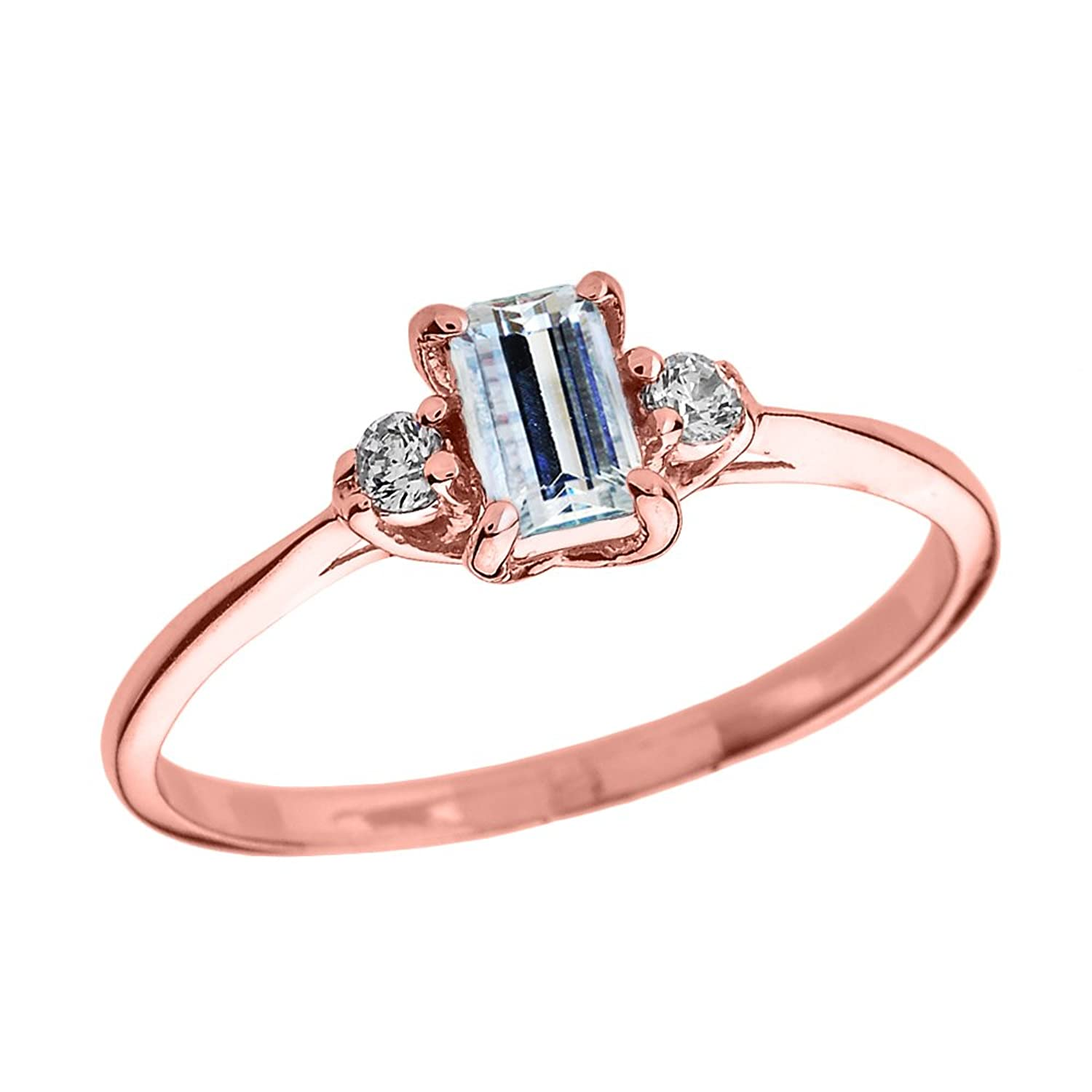 Solid 10k Rose Gold Diamond and Aquamarine Proposal and Birthstone Ring