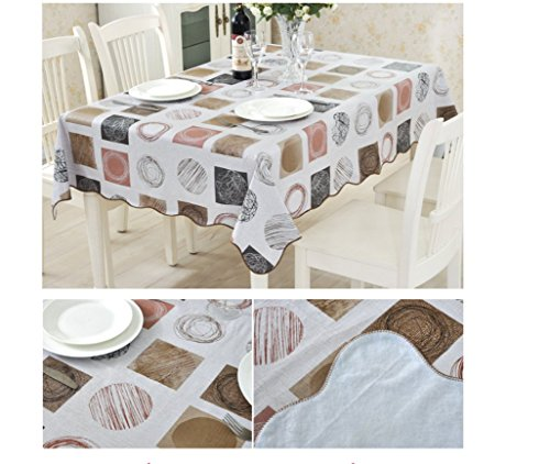 60' Square (EffortLife Flannel Backed Vinyl Tablecloth WaterProof/Oil-proof PVC Table Cover Square 60 x 60 Inch)