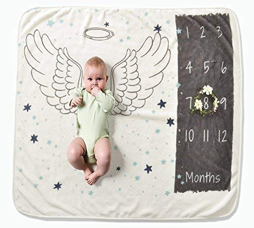 Zippersell Baby Monthly Milestone Blanket, Flannel Watch Me Grow Blanket Photography Background Prop for 0-13 Months Growing Infants and Toddler (Wing)