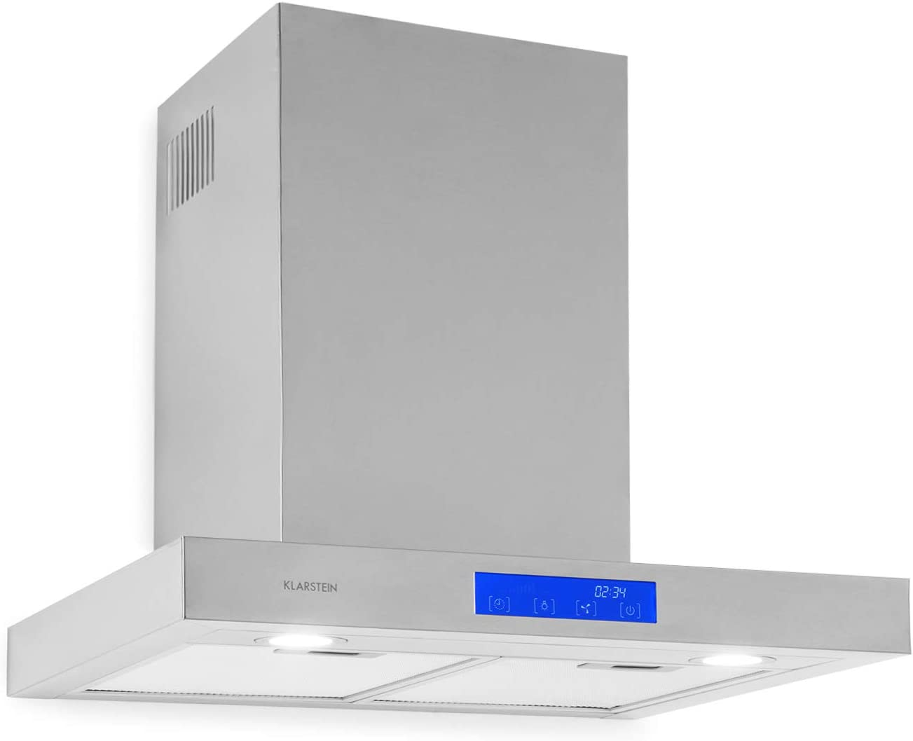 Klarstein Sabrina Extractor de humos - Campana extractora de pared, 60 cm de ancho, Absorción de 575 m³/h, 200 W, Filtro grasa de aluminio, Eficiencia energética de clase A, Acero inox, Plateado