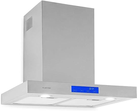 Klarstein Sabrina - extractor de humos, campana extractora de pared, clase A, extracción y ventilación, 575 m³/h, 3 intensidades, pantalla LCD, filtro de grasa, panel táctil, 60 cm, plateado: Amazon.es: Hogar