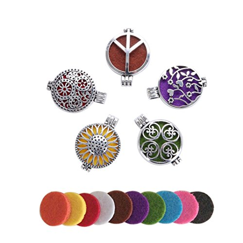 Lenrunya Jewelry 5pcs Antique Silver-tone Aromatherapy Essential Oil Hollow Diffuser Lockets -