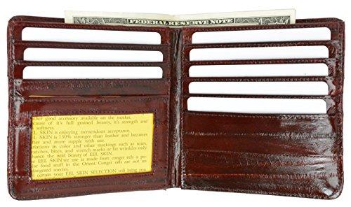 EEl Skin Bi-fold Mens Hipster Wallet #E711 (Burgundy) ()