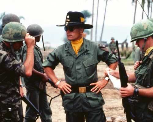 Apocalypse Now Robert Duvall Classic in uniform with shades in Battlefield With Troops 8x10 Promotional - Photograph Battlefield