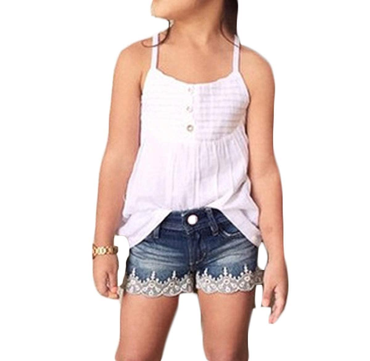 Toddler Litter Girl 2Pcs Outfits Suspender Vest Tops+Lace Denim Shorts Summer Clothes