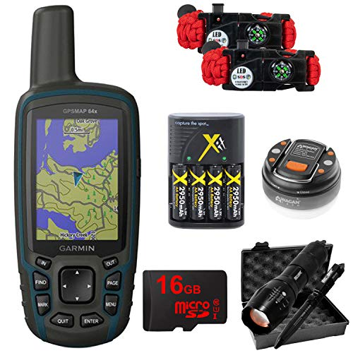 - Garmin GPSMAP 64x Handheld GPS with LED Dome Lantern, 4 Rechargeable AA Batteries, 16GB MicroSD Memory Card, Tactical Flashlight and Pen Set, and Survival Bracelet (2-Pk) Bundle - 010-02258-00