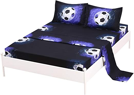 Twin Size 3pc Sheet Set for Boys//Teens Soccer Green Blue Black White New