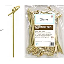 """Bamboo Knot Picks, 100pc 6"""" Cocktail Skewers Eco friendly Completely Biodegradable, adding Cocktail, Hors' D'oeuvre any type of appetizer finishing Touch"""