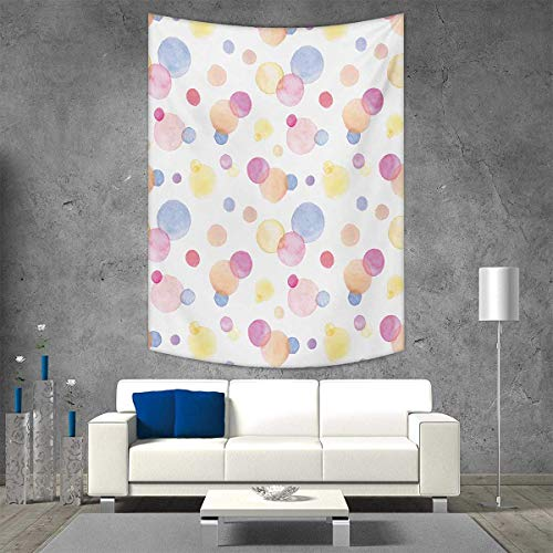 smallbeefly Pastel Wall Hanging Tapestries Watercolor Texture Liquid Paint Drops Dots Aquarelle Art Style Romantic Colorful Large tablecloths 70W x 93L INCH Multicolor