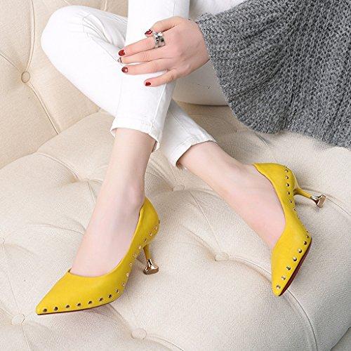flacher 35 Damenschuhe einzelne Fersen HWF Gelb Ferse Frühling mittlerer hochhackige Schuhe Damenschuhe Schuhe größe Mund Pendler Farbe dünne weiblich wies SqvAxg
