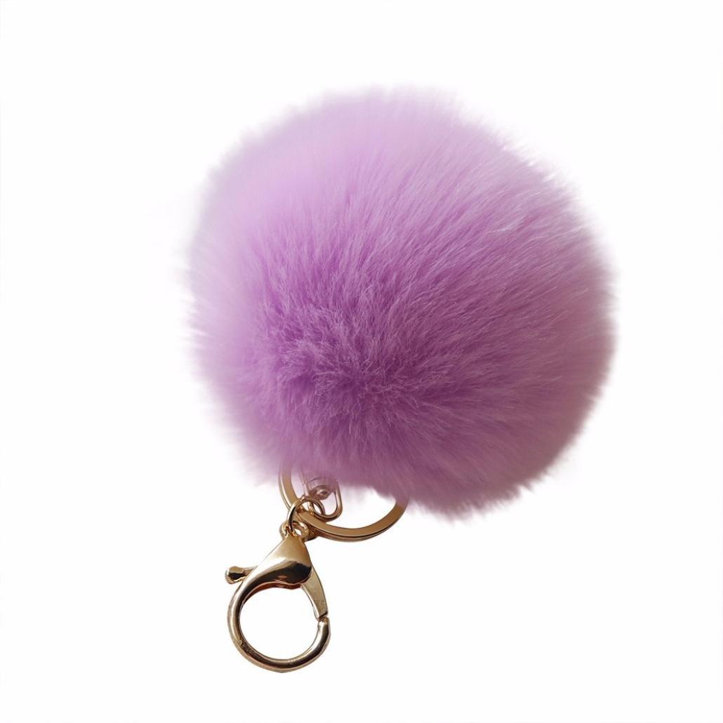 Amiley Fluffy Faux Rabbit Fur Ball Charm Pom Pom Car Keychain Handbag Wallet Backpack Key Ring (Purple)