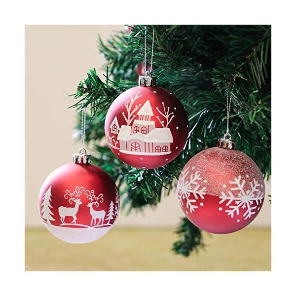 Valery Madelyn Palle di Natale 16 Pezzi 8cm Palline di Natale, Tradizionali Ornamenti di Palle di Natale Infrangibili Rossi e Bianchi per la Decorazione Dell'Albero di Natale 4 spesavip