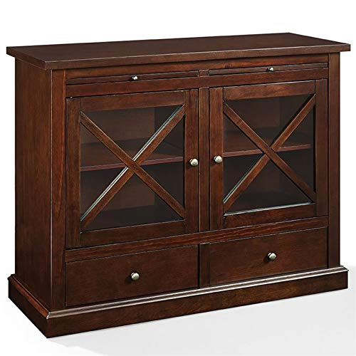 Crosley Furniture  Jackson Accent Cabinet with Glass Doors, Mahogany (Glass Mahogany Cabinet)