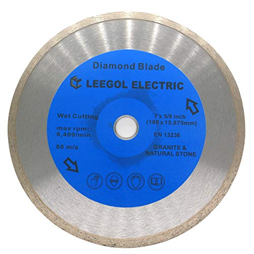 Leegol Electric 7 Inch Diamond Saw Blade - 7 In. Continuous Rim Wet Cut Tile Saw Blade for Cutting Masonry Stone Tile and Marble with 5/8 Inch Arbor