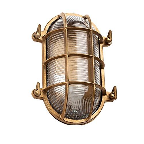 Tradition Brass Oval Outdoor Waterproof Lamp , Nautical Marine Wall Lamp,Courtyard Corridor Lamp Damp-proof Lamp ( Edition : Bottom wiring )