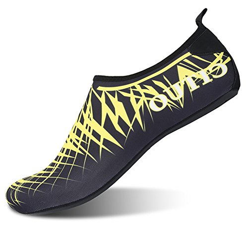 L-run Womens Barbeint Quick-tørr Vann Sko Aqua Sokk For Bading Surfing Yoga Black_yellow