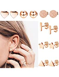 LOLIAS 6 Pairs Stainless Steel Stud Earrings Set for Women Girls Bar Heart Ball Star Triangle Ear Piercing