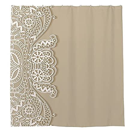 Polyester Shower Curtain White Lace Banners Plain 180 X Cm With