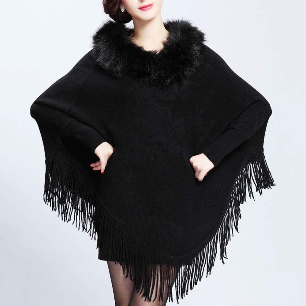 JZX Clothes Wearable Faux Fur Collar Womens Shawl Print Long Tassel Cloak Knit Cape Poncho Autumn Winter Pullover Coat,Black,One Size