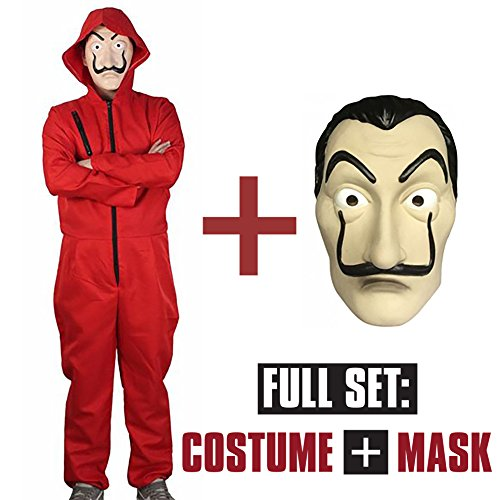 La Casa De Papel Red Jumpsuit Costume Cosplay with Mask Included (Extra Large)