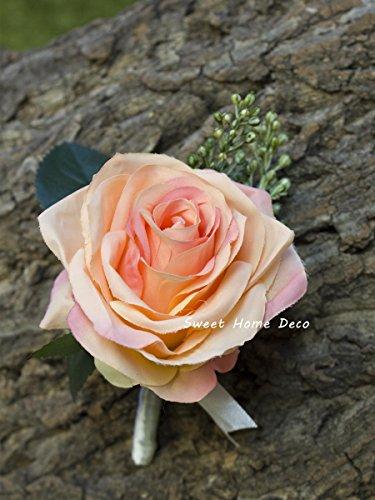 Peach Rose Boutonniere - Sweet Home Deco 8''W Silk Rose Wedding Bouquet Bridal Bouquet Bridesmaid Bouquet Boutonniere Colorful Roses (4''W-Boutonniere, Peach)