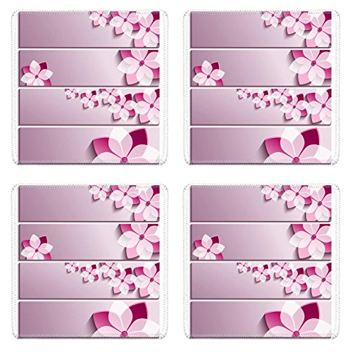 Asian Border Square Banner (Luxlady Natural Rubber Square Coasters IMAGE ID: 30404236 Set of horizontal banners purple with 3d blossoming sakura isolated on white background Stylish trendy wallpaper Beautiful greeting or invita)