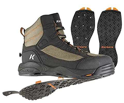 Korkers Greenback Wading Boot with Kling-On & Studded Kling-On Soles, Dried Herb/Black , Size 12