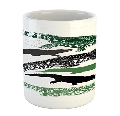 Lunarable Alligator Mug, Hand Drawn Silhouettes of Predator Crocodiles Wildlife Exotic Fauna, Printed Ceramic Coffee Mug Water Tea Drinks Cup, Fern Green Black White