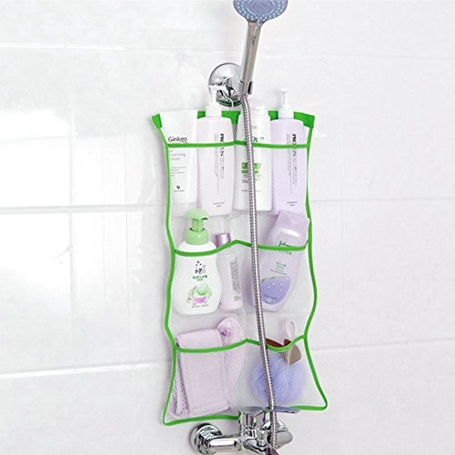 Quick Dry Hanging Bath Organizer with 6 Pockets, Hang on Shower Curtain Rod/Liner Hooks, Shower Organizer, Mesh Shower Organizer, Bathroom Accessories (Green)