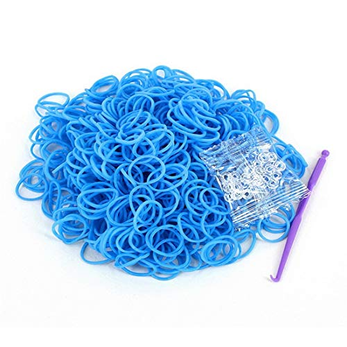 (Rainbow Rubber Loom Bands Refill Kit 600 Pcs/Pack - DIY Crafting Bracelet Weaving Rubber Anklet S-Clips with Tools (Blue))