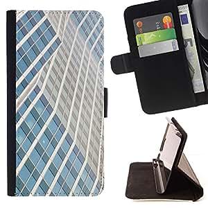 For Samsung Galaxy A5 ( A5000 ) 2014 Version Case , Edificio Líneas Rascacielos de la ciudad- la tarjeta de Crédito Slots PU Funda de cuero Monedero caso cubierta de piel