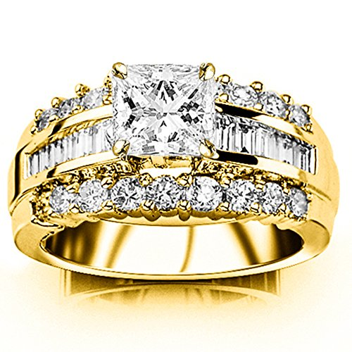 1.6 Carat t.w. GIA Certified Princess Cut 14K Yellow Gold Channel Set Baguette and Round Diamond Engagement Ring (D-E Color VS1-VS2 Clarity)