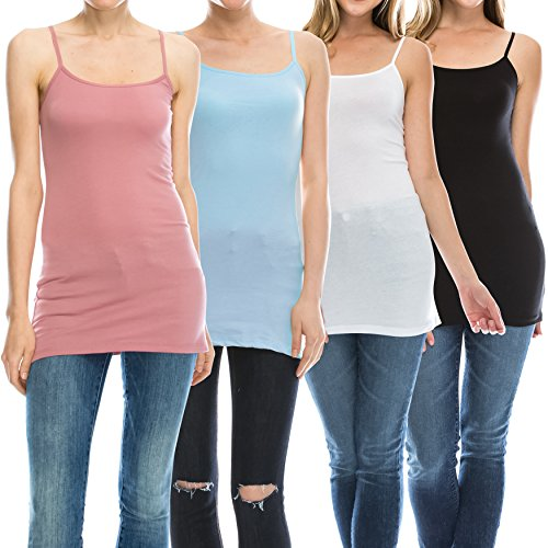 Nolabel [WT368 Multi Color 4pack Womens Basic Active Long Length Adjustable Spaghetti Strap Camisole Tank Top [BK/WH/AQ/MV] 3XL by Nolabel