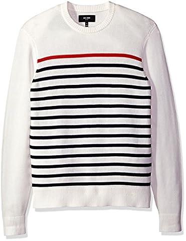 Jack Spade Men's Breton Stripe Crewneck Sweater, White, Large - Breton Stripe
