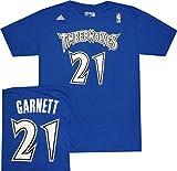 Minnesota Timberwolves Kevin Garnett Throwback 1997 Royal Blue Adidas T Shirt (Medium)