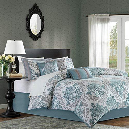 Madison Park Bella King Size Bed Comforter Set Bed in A Bag - Aqua, Grey, Damask - 7 Pieces Bedding Sets - Faux Silk Bedroom Comforters