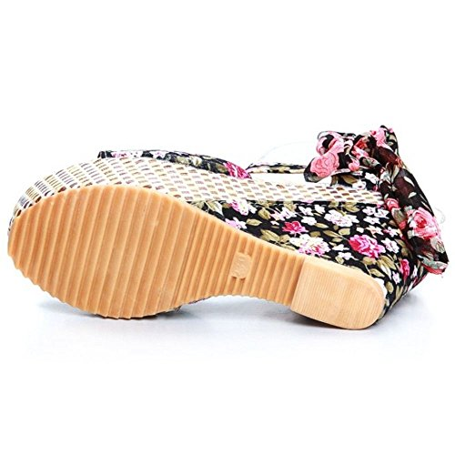 COOLCEPT Sandalias de Cuna Floral Negro Plataforma Tacon Casual Mujer rwaq7r