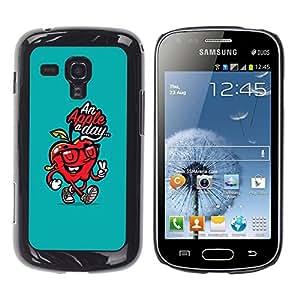 TopCaseStore / la caja del caucho duro de la cubierta de protección de la piel - Day Doctor Away Teal Red Quote - Samsung Galaxy S Duos S7562